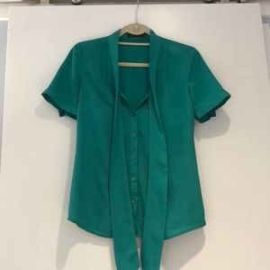 The Limited green blouse with pussy bow XS
